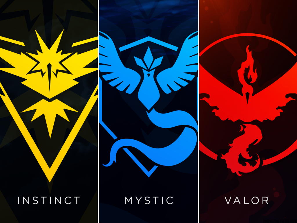 Pokemon Go Team Logos, Instinct, Mystic and Valor