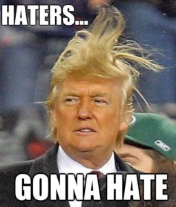 "Donald Trump Fake Hair Flying ""Haters Gonna Hate"" Caption Meme."